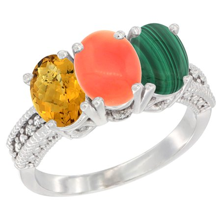 14K White Gold Natural Whisky Quartz, Coral Ring with Malachite Ring 3-Stone 7x5 mm Oval Diamond Accent, sizes 5 - 10