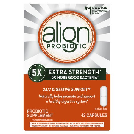 Align Extra Strength Probiotic, Probiotic Supplement for Digestive Health in Men and Women, 42 capsules, #1 Doctor Recommended Probiotics