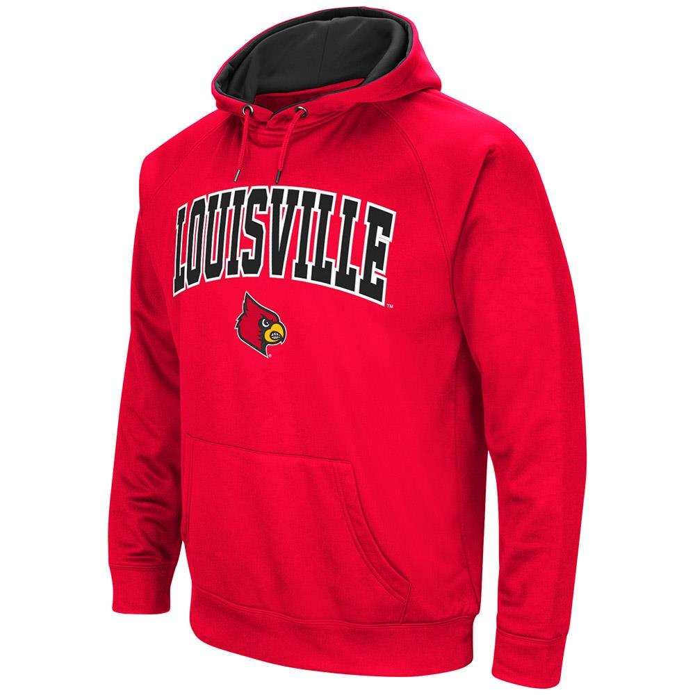 Mens Louisville Cardinals Fleece Pull-over Hoodie by Colosseum