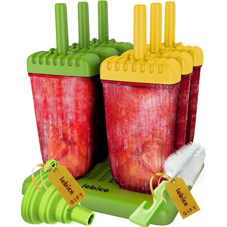 Popsicle Molds Set - BPA Free - 6 Ice Pop Makers + Silicone Funnel + Cleaning Brush + Ice Cream Recipes E-book - by Lebice](Bomb Pop Popsicle)