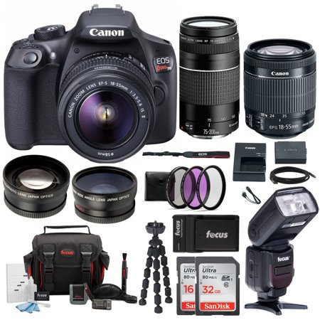 Canon EOS Rebel T6 DSLR Camera with 18-55mm and 75-300mm Lens