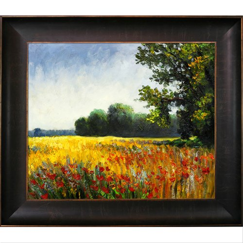 Tori Home 'Oat Fields' Oil Painting Print on Canvas