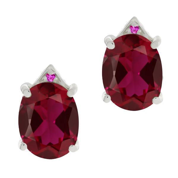 6.75 Ct Oval Red Created Ruby Pink Sapphire 14K White Gold Earrings