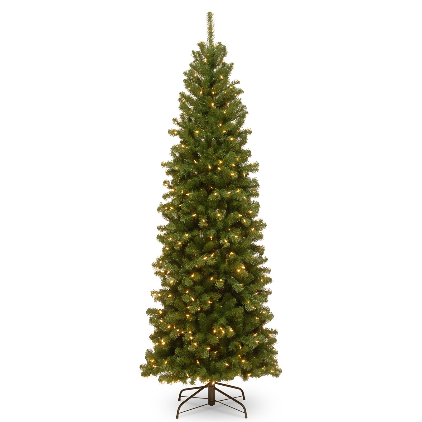 National Tree 7.5' North Valley Spruce Pencil Slim Hinged Tree with 400 Clear Lights