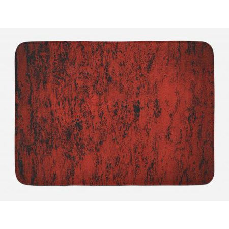 Look Slip (Red and Black Bath Mat, Artistic Abstract Pattern with Grungy Distressed Look and in Vintage Style, Non-Slip Plush Mat Bathroom Kitchen Laundry Room Decor, 29.5 X 17.5 Inches, Red Black, Ambesonne )