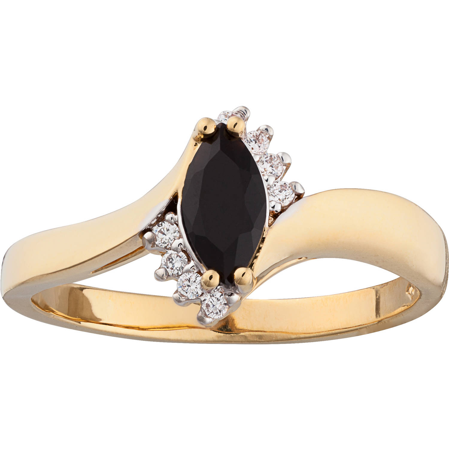 14kt Gold-Plate Onyx Marquise and CZ Accent Ring with Onyx Stud Earrings