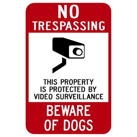 Traffic Signs - No Trespassing Beware Of Dogs Sign 10 x 7 Aluminum Sign Street Weather Approved Sign 0.04