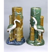 Majolica Styled Porcelain Vases w Cranes & Bamboo - One Pair