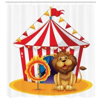 Circus Decor Shower Curtain Set, Illustration Of A Lion Beside The Fire Hoop At The Circus Old Fashion Kids King Of The Forest, Bathroom Accessories, 69W X 70L Inches, By Ambesonne