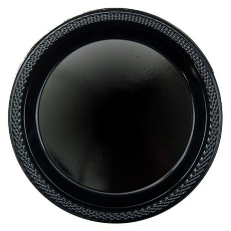 CPC B10664B 10 in. Heavy Duty Disposable Plastic Party Plates, Black - Case of 200 - 10 Case of 20 ()