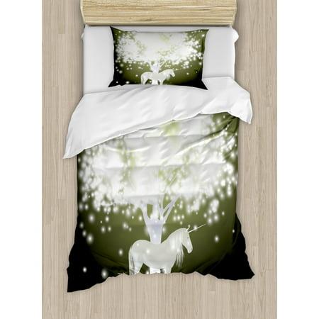 Magic Duvet Cover Set, Legendary Unicorn Horse under Mystic Tree with Human Fantasy Artwork Design, Decorative Bedding Set with Pillow Shams, Yellow Hunter Grey, by Ambesonne ()