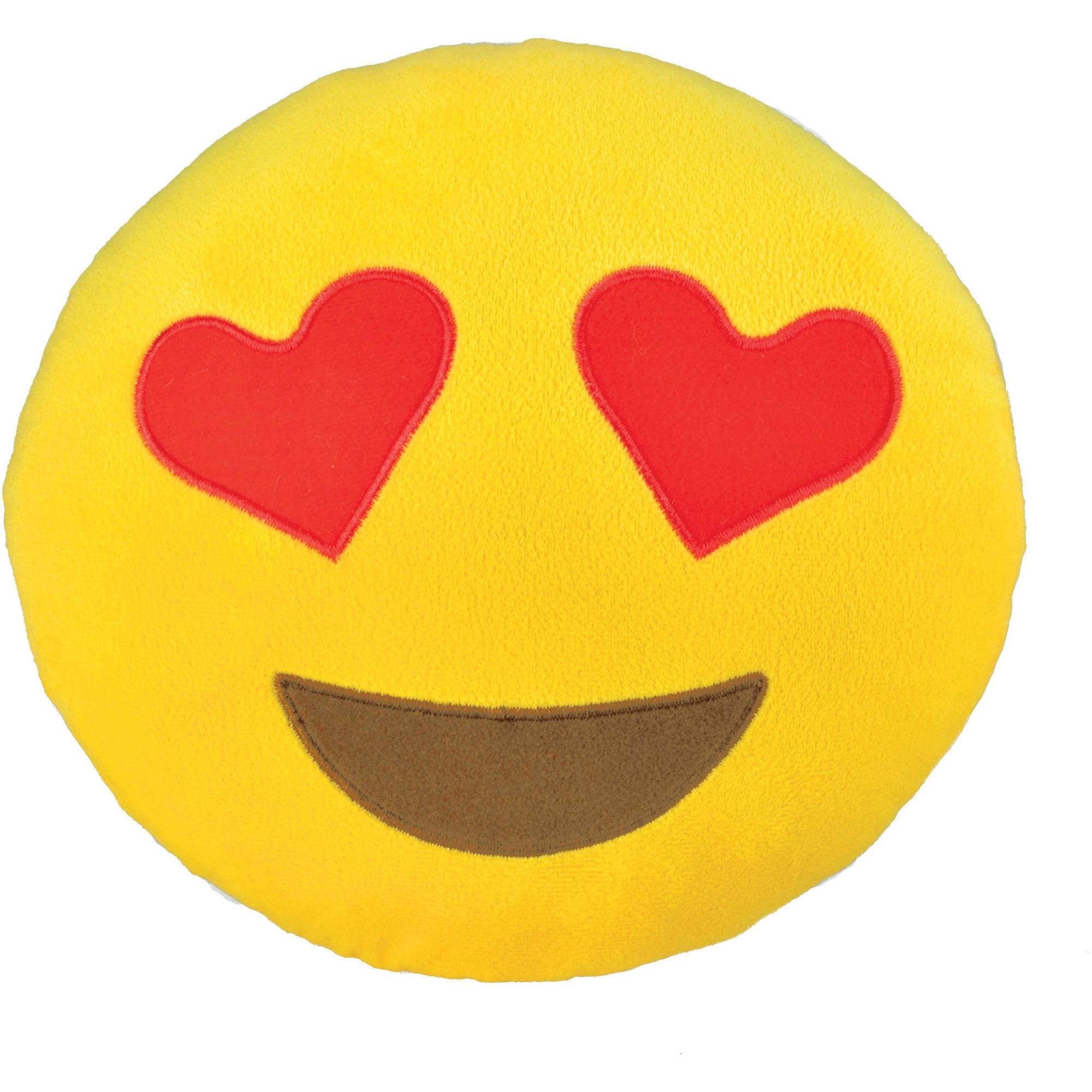Emoji Small Pillow, Heart Eyes