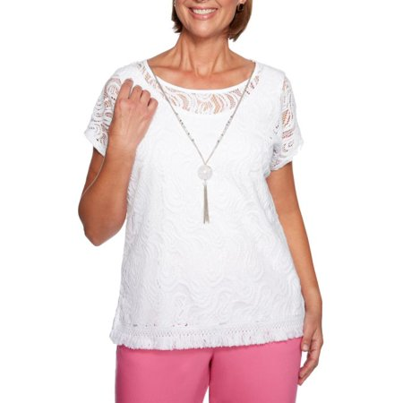 Alfred Dunner Women's Petite Palm Coast Solid Lace Knit Top, White, Medium - NEW