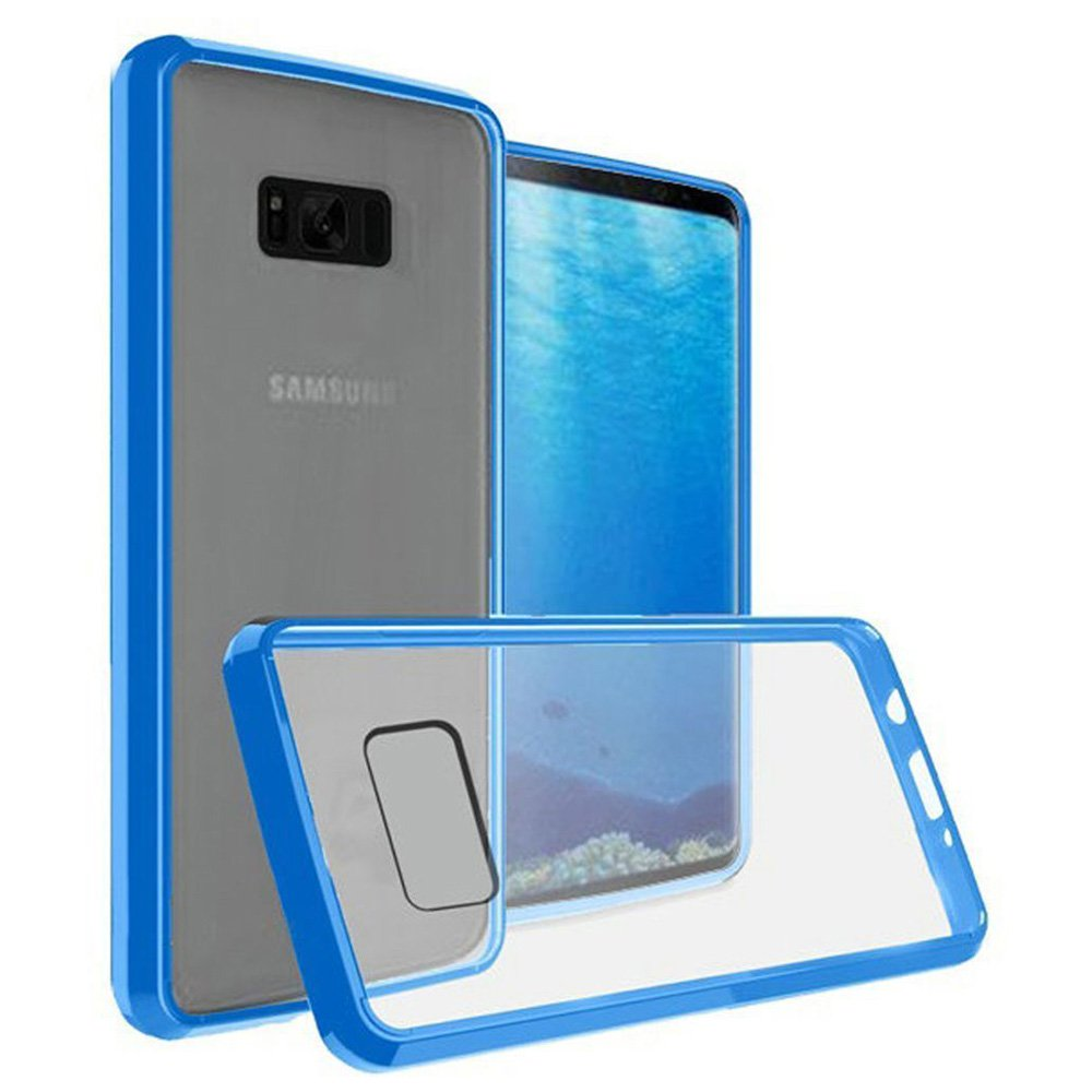 Samsung Galaxy Note 8 Case, Premium Slim Shockproof Case Transparent Hard PC TPU Bumper Cover for Samsung Galaxy Note 8 SM-N950U - Clear/ Blue