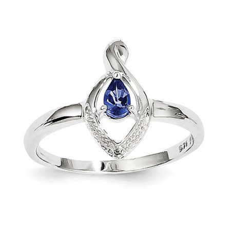 Sterling Silver Rhodium Plated Diamond & Tanzanite Ring. Gem (Sterling Silver Turquoise Stone Ring)
