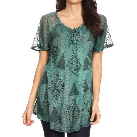 Sakkas Allegra Women's Short Sleeve Loose Fit Casual Tie Dye Blouse Tunic Shirt - 19209-Teal - One Size