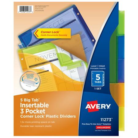 Avery 5-Tab Three-Pocket Corner Lock Dividers, Big Tabs, 1 Set (11273)