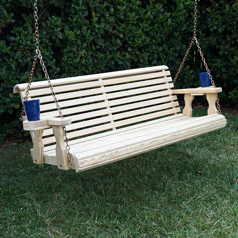 Amish Heavy Duty 800 Lb Roll Back Treated Porch Swing With Hanging Chains And Cupholders... by