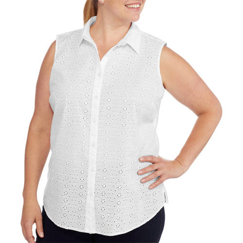 Faded Glory Women S Plus Size Sleeveless Button Front Top