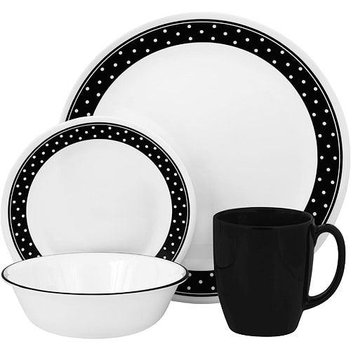 Corelle Livingware 16-Piece Dinnerware Set, Brilliant Black Dots
