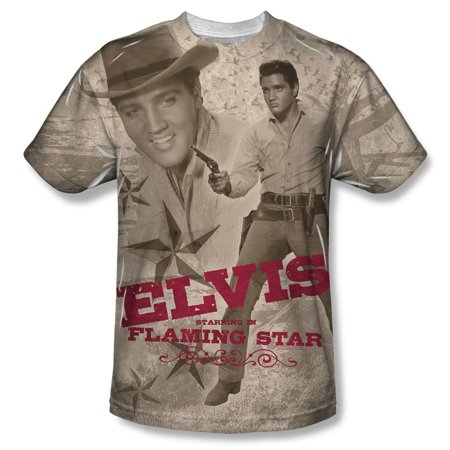 Elvis Presley Men's  Flaming Star Sublimation T-shirt White - Elvis Presley Suits