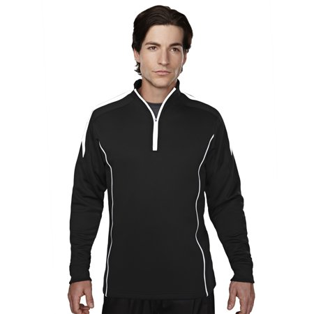 Tri-Mountain Performance Fullerton 605 Mesh Textured Zipper Pullover, 4X-Large, Black/White