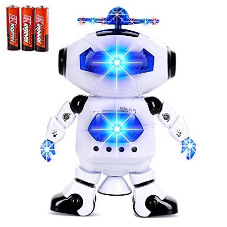 toysery electronic walking dancing robot toys with music lightening for kids boys girls toddlers, battery operated included (Robots For 4 Year Olds)