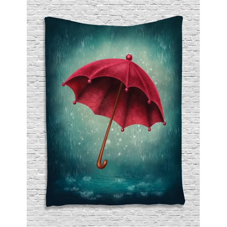 Handle Tapestry (Farmhouse Decor Tapestry, Authentic Retro Wooden Handle under Fall Rainfall Torrent Urban Accessory Image, Wall Hanging for Bedroom Living Room Dorm Decor, 60W X 80L Inches, Teal, by Ambesonne)