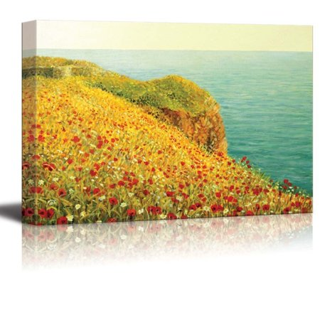 Canvas Prints Wall Art - Beautiful Seascape with Vivid Red Poppies at the Sea Coast Oil Painting Style | Stretched Gallery Canvas Wrap Giclee Print & Ready to Hang - 16