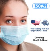 50pcs Disposable Breathable Mask, 3-ply Elastic Ear Loop Filter Mask,Dust Mask