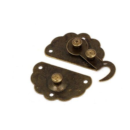 Coque en bois Chest Box Fermoir Moraillon Loquet Bronze Tone 5 jeux - image 1 de 3
