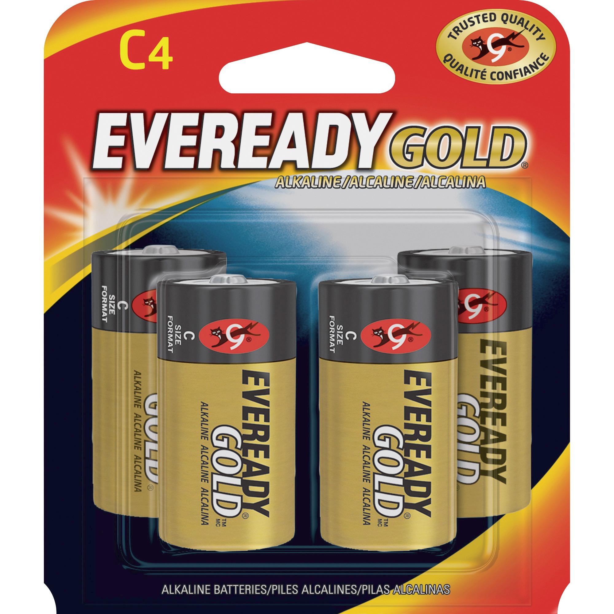Energizer, EVEA93BP4, Gold Alkaline C Batteries, 4 / Pack, Red