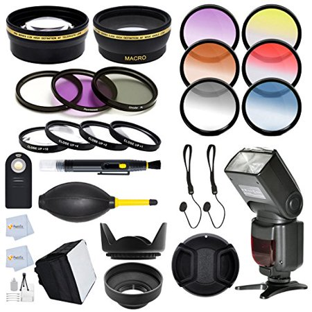 52mm Complete Accessory Kit for NIKON D7100 D7000 D5200 D5100 D5000 D3200 D3100 D3000 D90 D80 D600 D800 D800E DSLR Cameras Includes: Wide Angle & Telephoto Lens + 13 Pc. Filter Kit + Auto-Focus