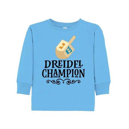 (Hanukkah Dreidel Champion Toddler Long Sleeve T-Shirt)