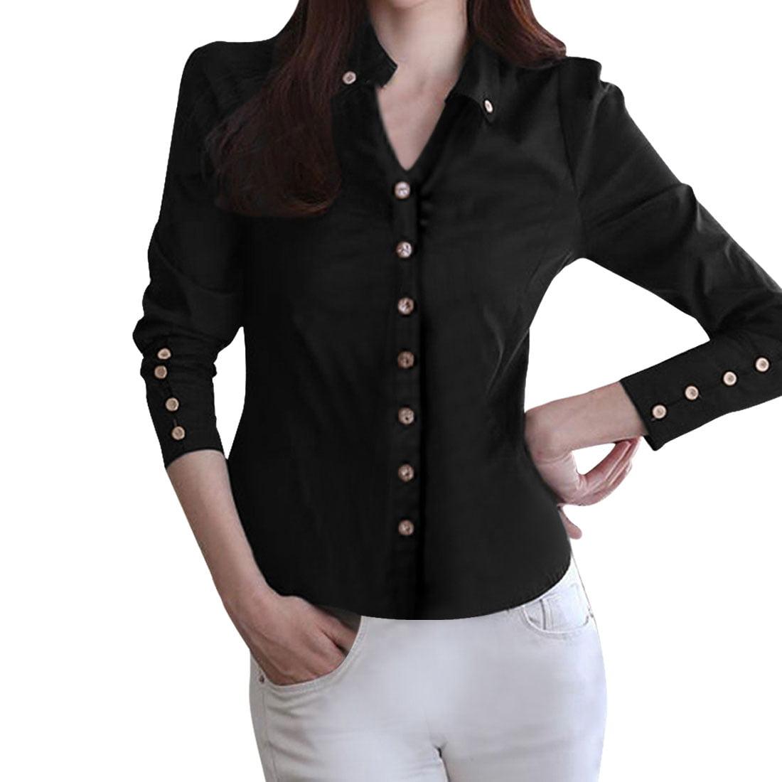 Womens Black Button Down Shirt Walmart
