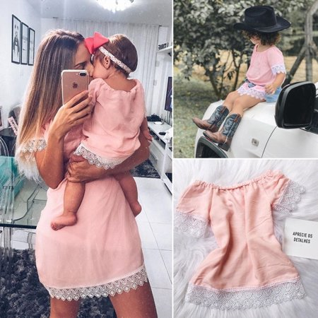 Fashion Mother & Daughter Matching Dress Women Baby Girls Lace Dress Family Clothes - Ladies Clothing Dresses
