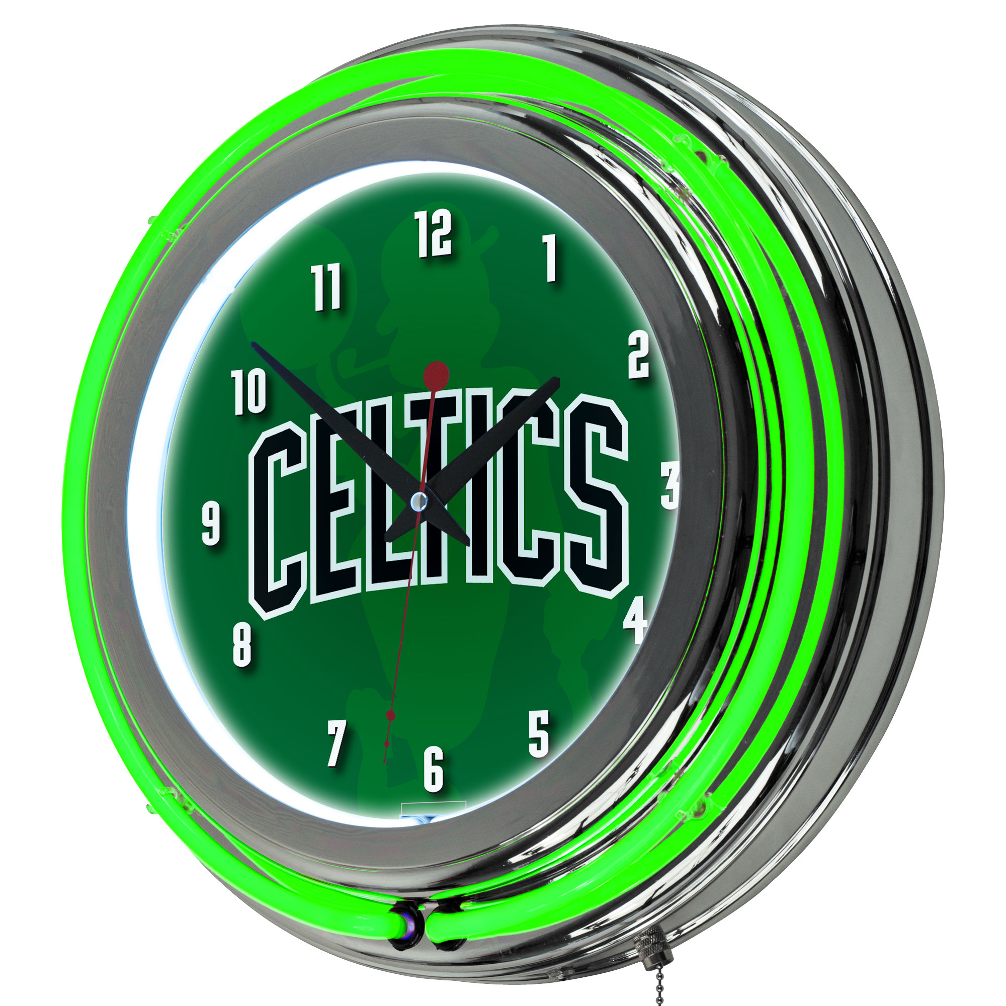NBA Chrome Double Rung Neon Clock - Fade - Boston Celtics