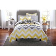 Mainstays Yellow Grey Chevron Bed in a Bag 8-Piece Bedding Comforter Set