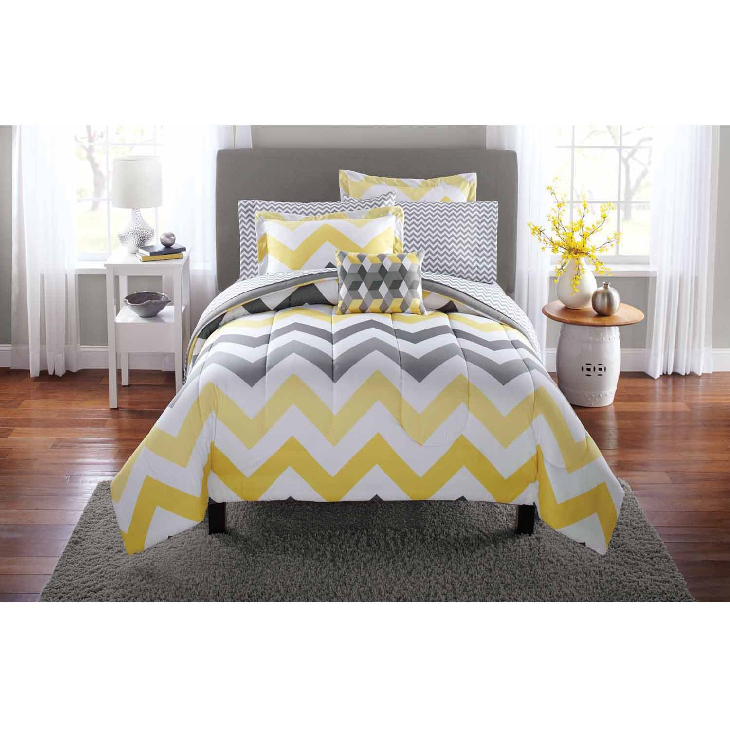 yellow and grey comforter Mainstays Yellow Grey Chevron Bed in a Bag Bedding Comforter Set  yellow and grey comforter