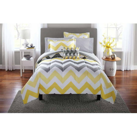 Mainstays Yellow Grey Chevron Bed in a Bag 6-Piece Bedding Comforter Set, Twin (Asian Theme Comforter)