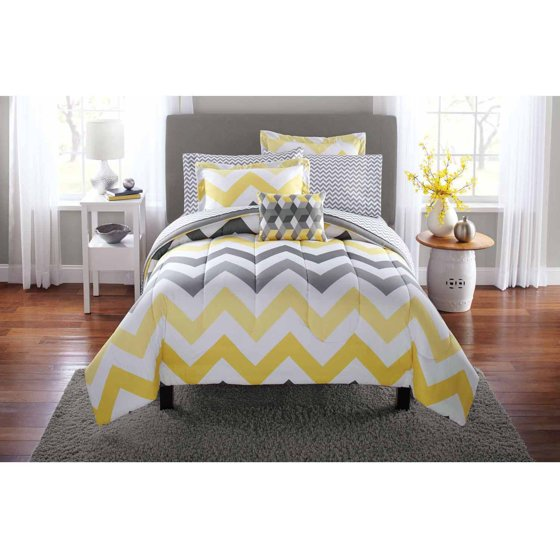 Yellow Gray Bed In A Bag : Mainstays yellow grey chevron bed in a bag bedding