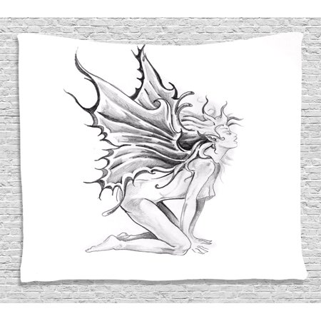 - Tattoo Decor Tapestry, Artistic Pencil Drawing Art Print Nude Fairy Opening its Angel Wings, Wall Hanging for Bedroom Living Room Dorm Decor, 60W X 40L Inches, Black and White, by Ambesonne