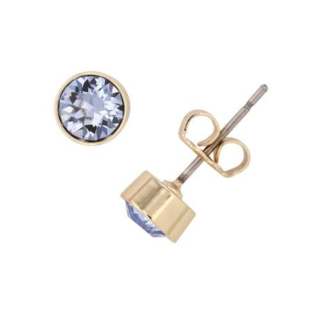 X & O 14KT Gold Plated 5 mm Bezel Set Flat Back Stud Earrings with Light Sapphire Swarovski (Light Sapphire Earrings)