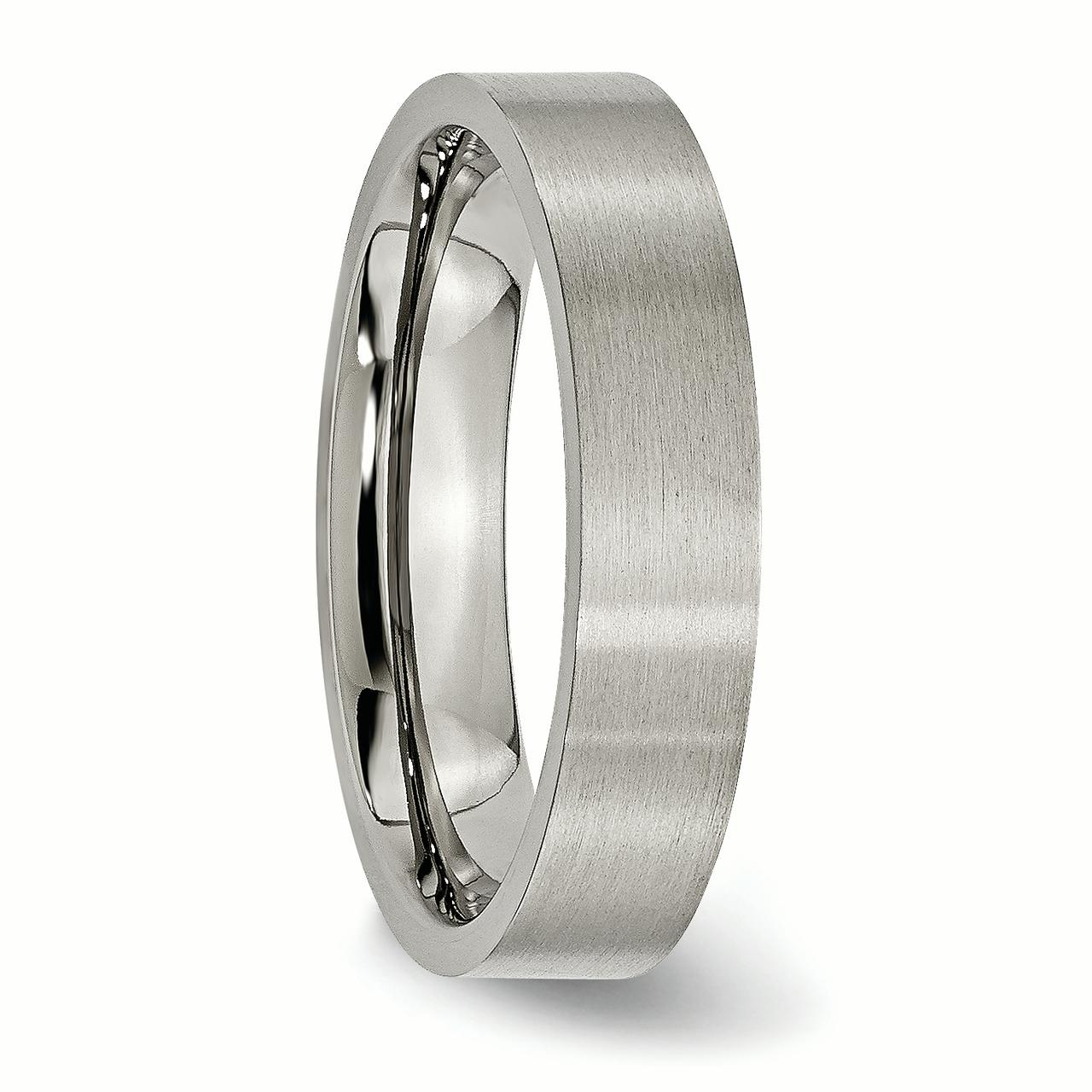 Titanium Flat 5mm Brushed Wedding Ring Band Size 10.00 Classic Fashion Jewelry Gifts For Women For Her - image 6 of 7