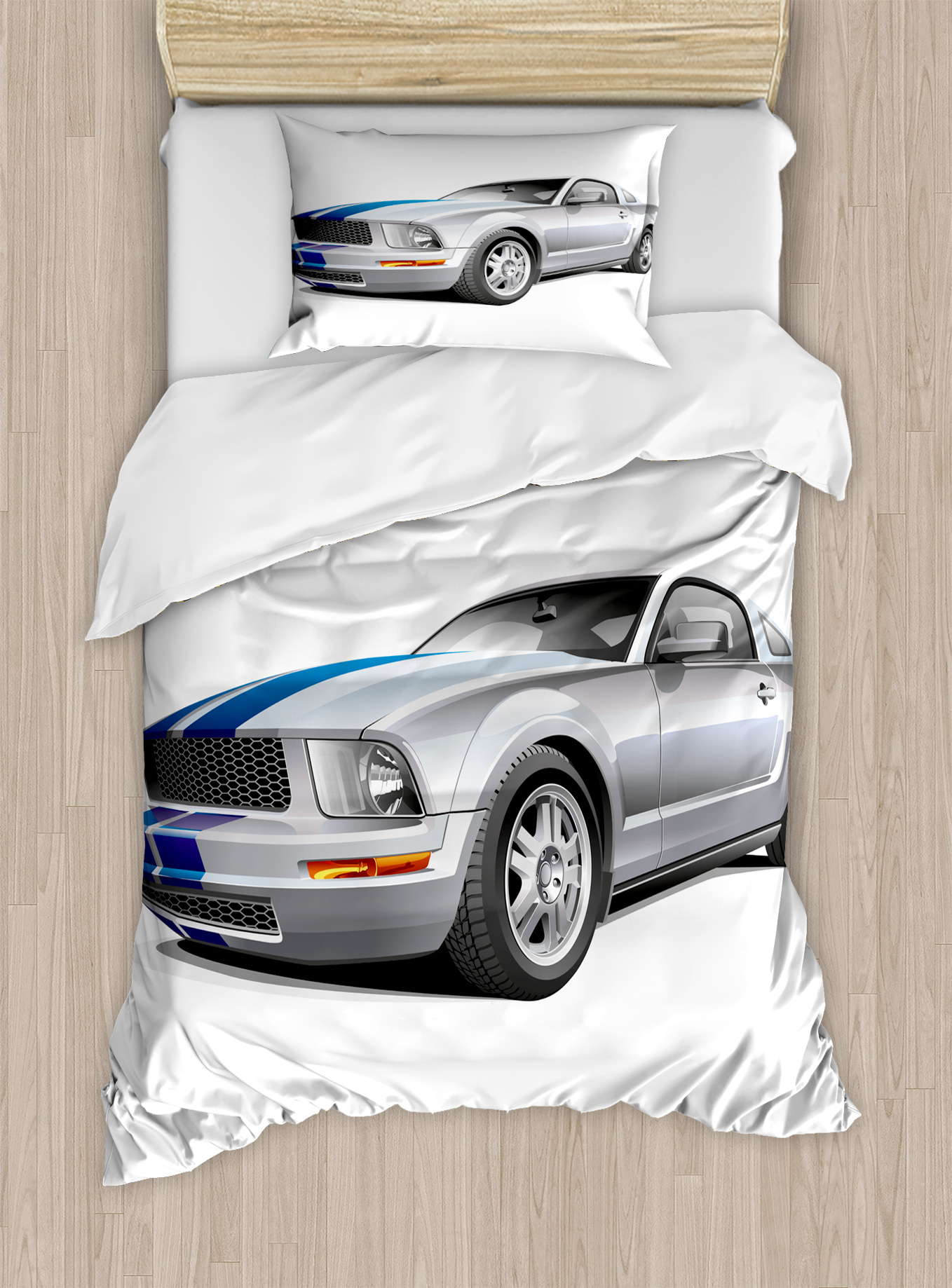 Teen Room Decor Twin Size Duvet Cover Set, Modern Trendy Cool Car  Automobile Fancy Speed