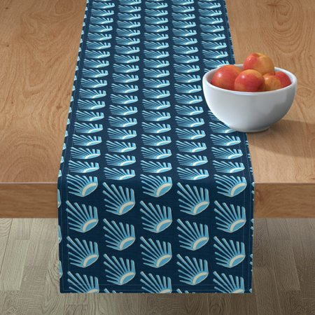 Table Runner Cyan Suns Fans Eyes Aztec Blue Cerulean Cotton Sateen