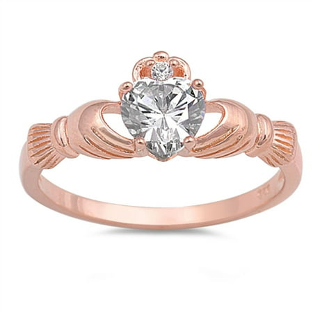 Clear Heart Sheped Cubic Zirconia Claddagh Ring Rose Gold-Tone Plated Sterling Silver 925 Size - Claddagh Rose Gold Ring