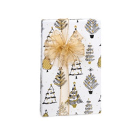 White and Gold Golden Holiday Trees Holiday /Christmas Gift Wrapping Paper 16ft ()