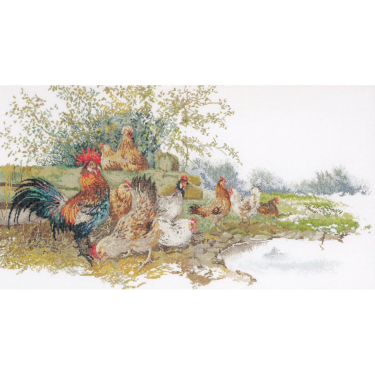 Thea Gouverneur Counted Cross-Stitch Kit, Chickens