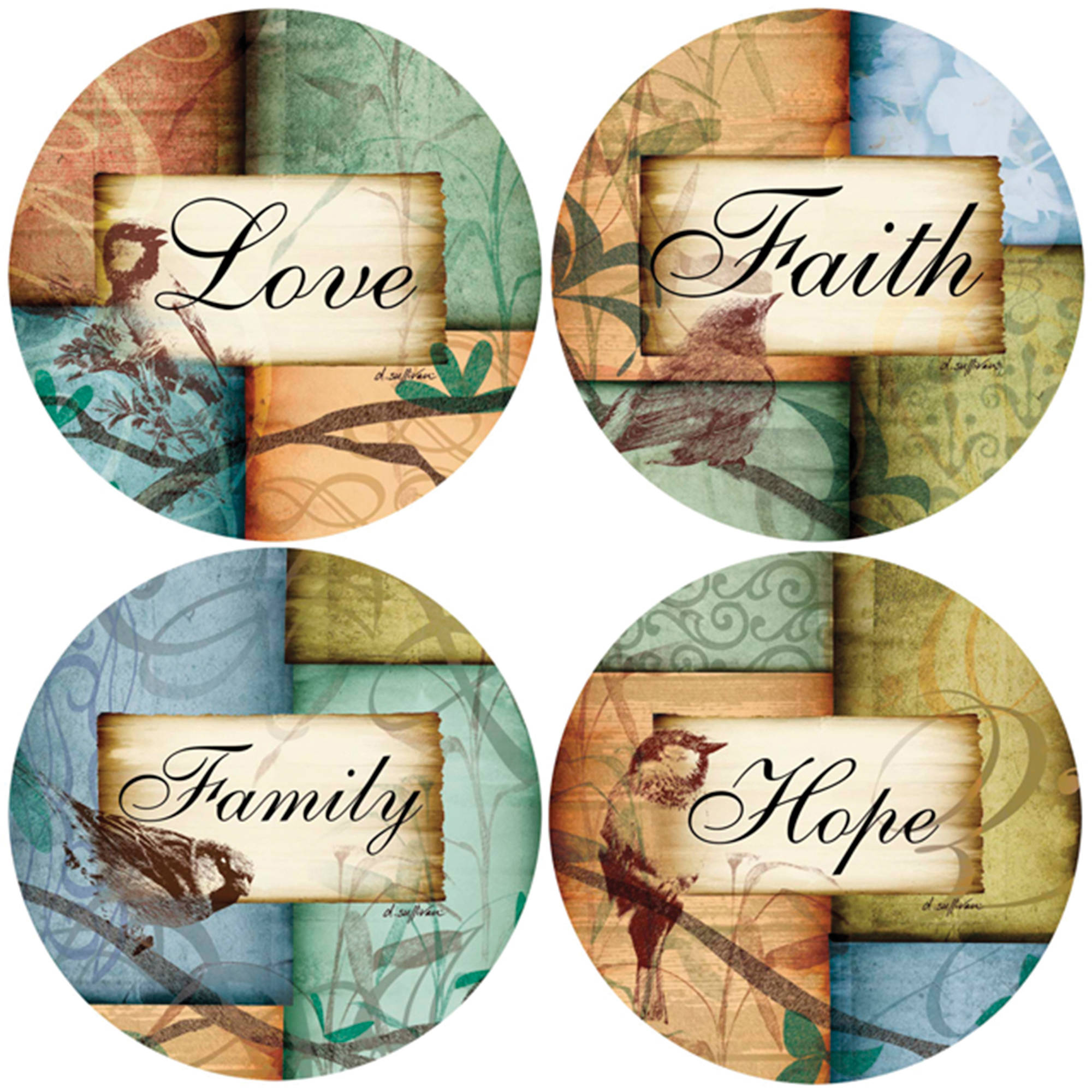 Thirstystone Occasions Drink Coasters, Birds A/four